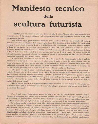 Manifesto tecnico della scultura futurista