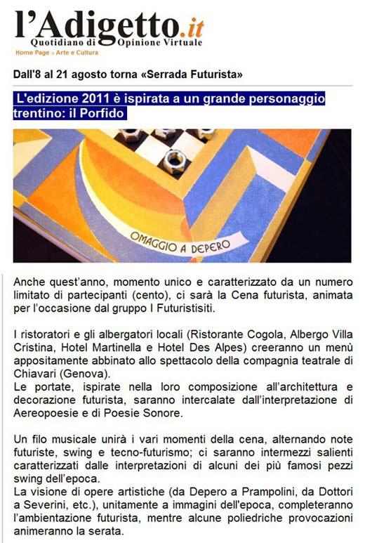 L'Adigetto, Agosto 2011