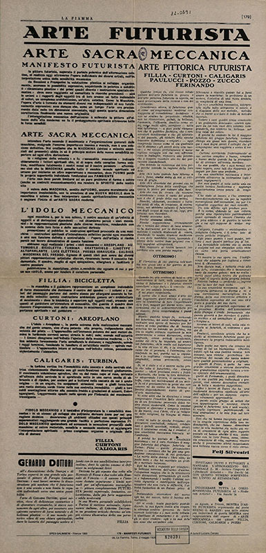 Arte Sacra Meccanica, Manifesto Futurista